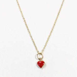 14k Gold Tiny Dainty Enamel Heart Charm Necklace